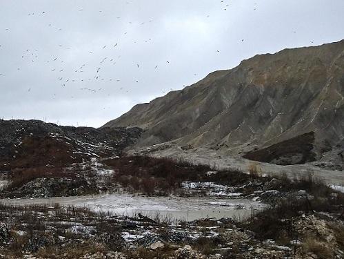 A mountain range of landfill